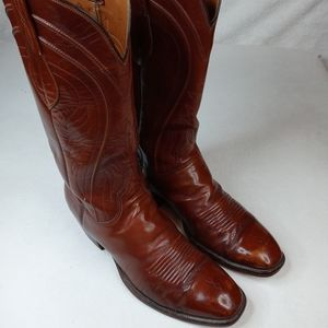 LUCCHESE Cowboy Boots 9 D Mens Sienna Brown Leathe